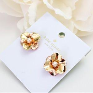 Pick a Posy Kate Spade earrings Rose Yellow Gold